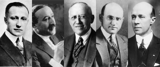 "The Independent ""Pirates"": Adolph Zukor (Paramount), William Fox (Twenty Century Fox), Carl Laemmle (Universal), Samuel Goldwyn (MGM), William Wadsworth Hodkinson (Paramount). Defied the law and didn"