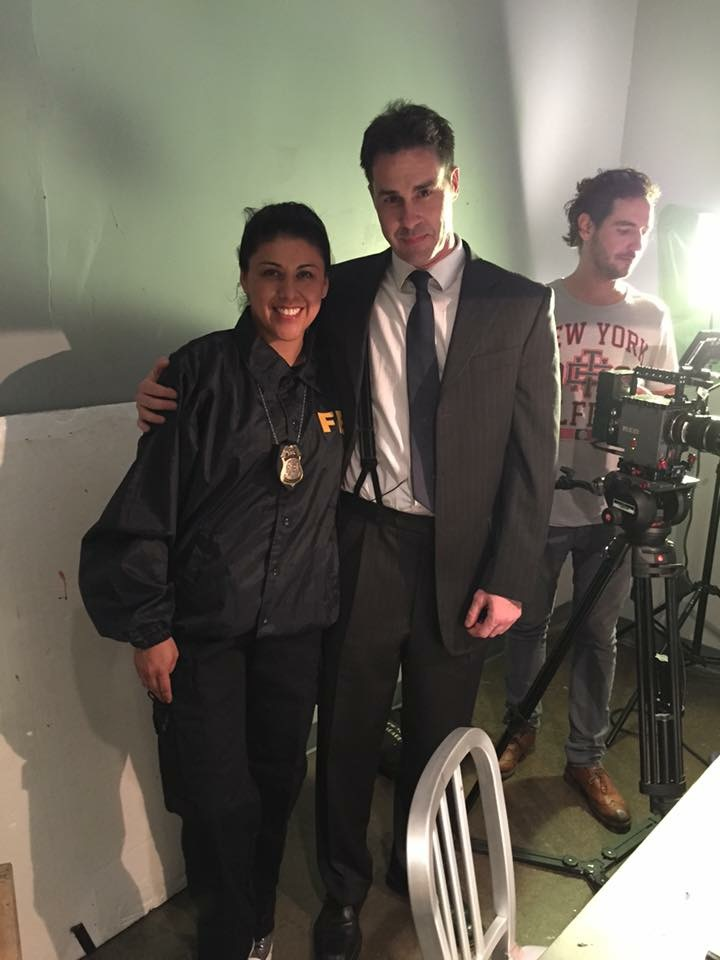 Francia did a cameo too as FBI agent. Here with Joseph.