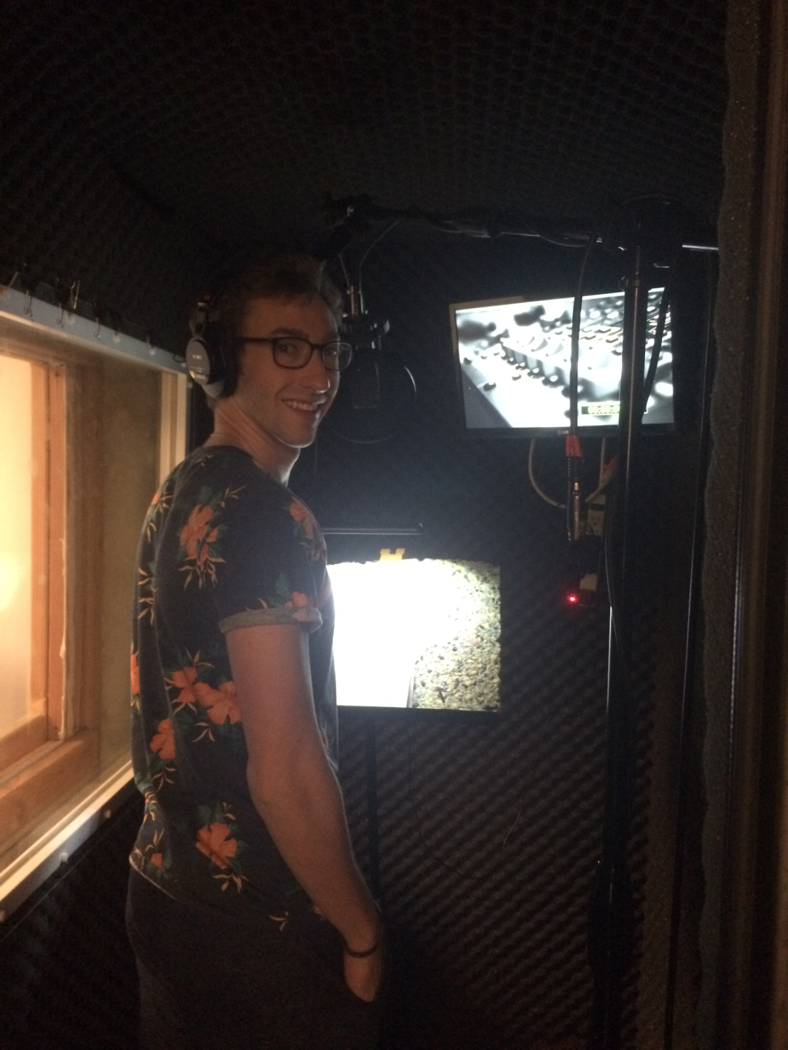 Robert in the voice over booth